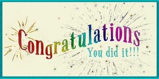 Carta di congratulazioni Fotografia Stock Libera da Diritti