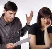 Carta di credito che causa i problemi di rapporto Immagini Stock