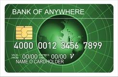 Carta di credito con il globo illustrazione di stock