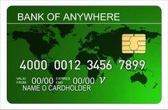 Carta di credito con il programma di mondo illustrazione vettoriale