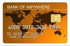 Carta di credito con il programma di mondo illustrazione di stock