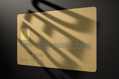 Carta di credito dell'ombra di debito illustrazione di stock