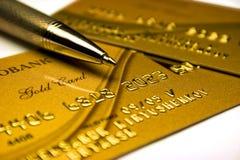 Carta di credito dell'oro Fotografia Stock