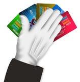 Carta di credito della holding della mano illustrazione di stock