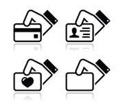 Carta di credito della holding della mano, icone del biglietto da visita Fotografia Stock Libera da Diritti