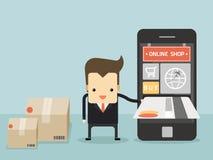 Carta di credito di uso dell'uomo d'affari per l'elemento dell'affare dal negozio online illustrazione vettoriale