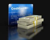 Carta di credito e dollari (percorso di ritaglio incluso) Fotografia Stock