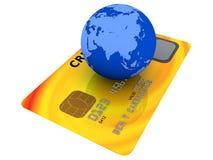Carta di credito e globo Fotografia Stock Libera da Diritti