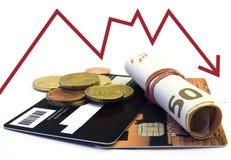 Carta di credito e soldi Immagini Stock Libere da Diritti