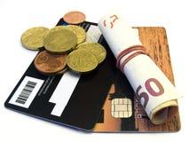 Carta di credito e soldi Immagini Stock