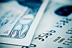 Carta di credito e valuta Fotografia Stock