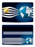 Carta di credito fredda con il globo Fotografie Stock Libere da Diritti