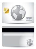 Carta di credito grigia del globo Fotografie Stock