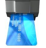 Carta di credito nella scanalatura di pagamento Fotografie Stock