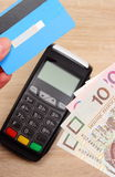 Carta di credito polacca dei soldi e di valuta con il terminale di pagamento nel fondo, concetto di finanza Fotografie Stock Libere da Diritti