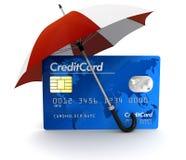 Carta di credito sotto l'ombrello (percorso di ritaglio incluso) Immagine Stock