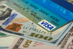 Carta di debito di visto Fotografie Stock