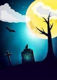 Carta di desiderio di notte di Halloween Immagine Stock