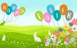 Carta di desiderio di Pasqua nel paesaggio con il fiore Immagini Stock