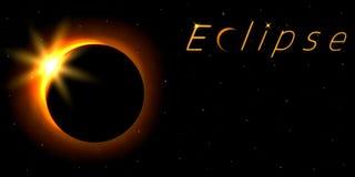 Carta di eclissi solare con testo Fenomeno astronomico del closing del sole brillante dalla luna royalty illustrazione gratis
