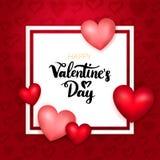 Carta di carta felice di giorno di biglietti di S. Valentino Fotografia Stock