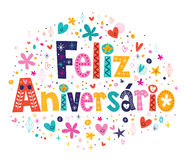 Carta di Feliz Aniversario Portuguese Happy Birthday Illustrazione di Stock