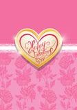 Carta di festa con il cuore dorato del metallo e scritto a mano Immagine Stock