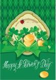 Carta di festa con il giorno felice del ` s di St Patrick di parole calligrafiche Fotografia Stock Libera da Diritti