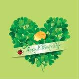 Carta di festa con il giorno felice della st Patricks di parole calligrafiche Fotografia Stock
