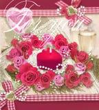 Carta di festa con il mazzo di belle rose Fotografie Stock