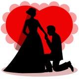 Carta di festa con le persone appena sposate Immagine Stock Libera da Diritti