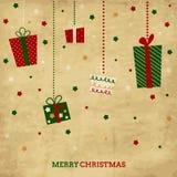 Carta di festa d'annata del nuovo anno e di Natale con la p illustrazione vettoriale