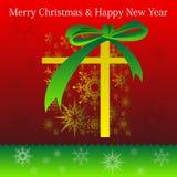 Carta di festa del buon anno e di Buon Natale con il contenitore di regalo Royalty Illustrazione gratis