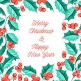 Carta di festa del vischio di Natale con testo Fotografie Stock Libere da Diritti