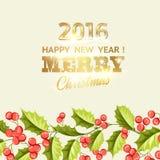 Carta di festa del vischio di Natale con testo Fotografia Stock Libera da Diritti
