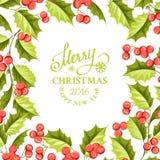 Carta di festa del vischio di Natale con testo Immagini Stock