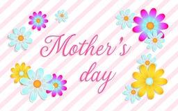 Carta di festa della mamma con i bei fiori illustrazione di stock