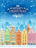 Carta di feste del nuovo anno e di Natale con la città nevosa Fotografia Stock Libera da Diritti