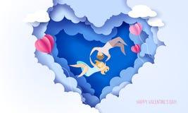 Carta di giorno di biglietti di S. Valentino con le coppie nell'amore illustrazione di stock