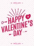 Carta di giorno di biglietti di S. Valentino con stile moderno di tipografia dell'etichetta sul fondo dei cuori per la vendita de Immagini Stock Libere da Diritti