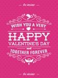 Carta di giorno di biglietti di S. Valentino con stile di tipografia dell'etichetta retro su colore di rosa del fondo dei cuori p Fotografie Stock Libere da Diritti
