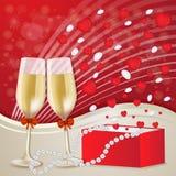 Carta di giorno del ` s del biglietto di S. Valentino con i vetri del champagne Immagini Stock