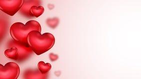 Carta di giorno del ` s del biglietto di S. Valentino con l'illustrazione dei cuori Fotografie Stock