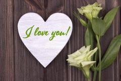 Carta di giorno del ` s del biglietto di S. Valentino con verde del testo ti amo Fotografia Stock Libera da Diritti