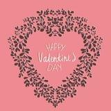 Carta di giorno del ` s del biglietto di S. Valentino del modello Con la corona sotto forma di cuore Immagini Stock