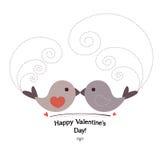 Carta di giorno del ` s di Valentin con gli uccelli Illustrazione Vettoriale