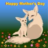 Carta di giorno della madre s con due volpi illustrazione vettoriale