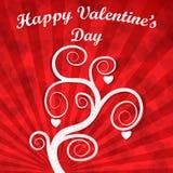 Carta di giorno di biglietti di S. Valentino: Albero bianco con i cuori e l'iscrizione Effetto di lerciume Fotografie Stock