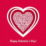 Carta di giorno di biglietti di S. Valentino con cuore Fotografia Stock Libera da Diritti