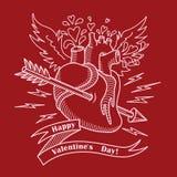 Carta di giorno di biglietti di S. Valentino con cuore e la freccia umani Immagine Stock Libera da Diritti